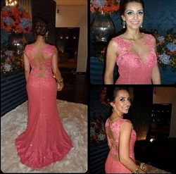 Coral Illusion Bodice Embellished Sheer Back Lace Prom Dress
