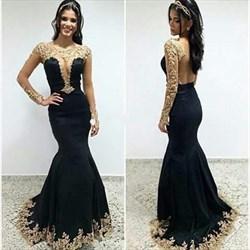 Black Sheer Long Sleeve Open Back Lace Applique Mermaid Formal Dress