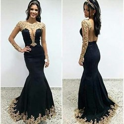 Black Sheer Long Sleeve Open Back Lace Applique Mermaid Formal Dress