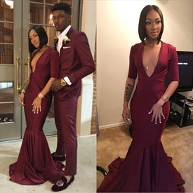 Burgundy V Neck Chiffon Mermaid Long Prom Dress With Half Sleeves