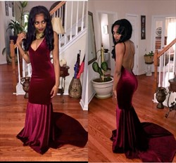 Burgundy V Neck Backless Mermaid Long Prom Dress With Train
