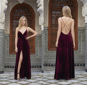 Burgundy V Neck Spaghetti Strap A Line Prom Dress With Side Cutouts