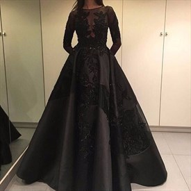 Black Lace Applique Floor Length Ball Gown With Long Sleeves