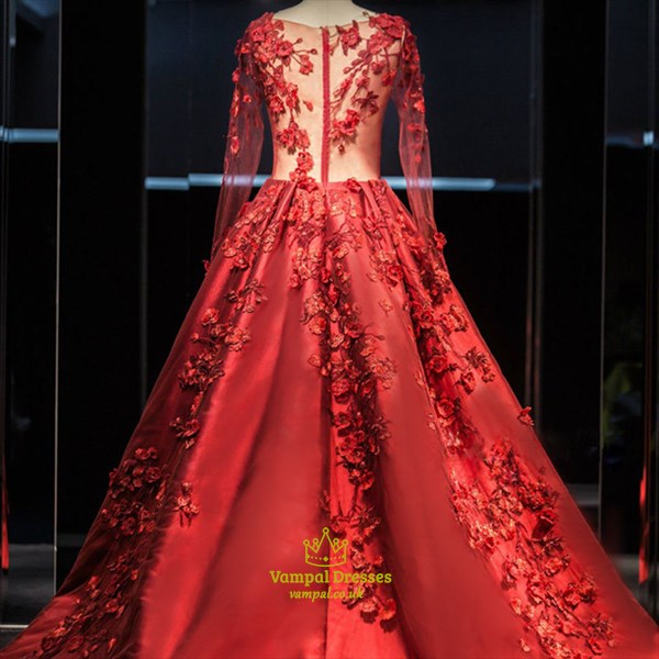 Red Sheer Floral Applique Long Sleeve Ball Gown Evening Dress