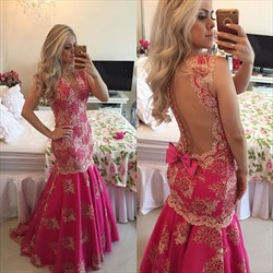 Hot Pink Beaded Lace Applique Sheer Back Long Formal Dress