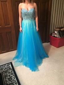 Aqua Blue Strapless Sweetheart Beaded Top A Line Long Prom Dress