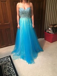 Aqua Blue Strapless Sweetheart Beaded Top A Line Long Prom Dress