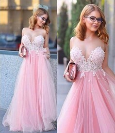 Pink Strapless Sweetheart Floral Applique Tulle Long Formal Dress