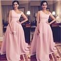 Pink One Shoulder Floor Length Ball Gown Formal Dresses