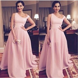 Pink One Shoulder Floor Length Ball Gown Formal Dresses