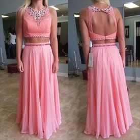 Coral Two Piece Beaded Lace Top Open Back Chiffon A Line Formal Dress