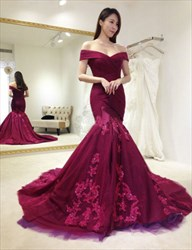 Burgundy Off The Shoulder Lace Embellished Mermaid Formal Dress