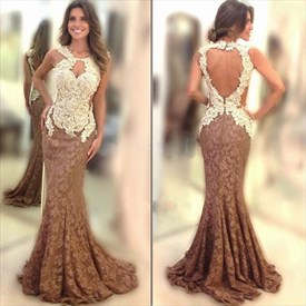 Two Tone Lace Open Back Mermaid Floor Length Prom Dress