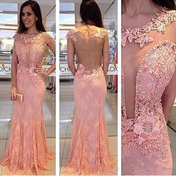 Coral Illusion Bodice Beaded Embellished Sheer Back Lace Formal Dress