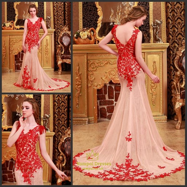 V Neck Red Lace Applique Sheer Back Mermaid Prom Dress With Train