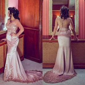 Pink Long Sleeve Sheer Illusion Bodice Mermaid Prom Dress With Train