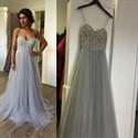 Light Blue Spaghetti Strap Sweetheart Beaded Bodice Long Prom Dress