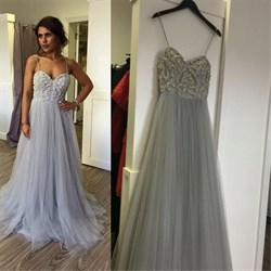 Light Blue Spaghetti Strap Sweetheart Beaded Bodice Long Prom Dress
