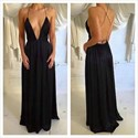 Black V Neck Spaghetti Strap Backless Long Chiffon Evening Dress