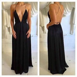 Black V Neck Spaghetti Strap Backless Long Chiffon Evening Dress