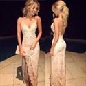 Spaghetti Strap V Neck Lace Sheath Prom Dress With Slit