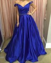 Royal Blue Off The Shoulder Beaded Waist Ball Gown Prom Dresses