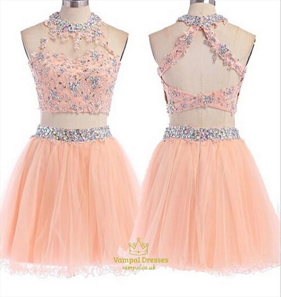 Pink High Neck Two Piece Jewel Beaded Embellished Cocktail Dress