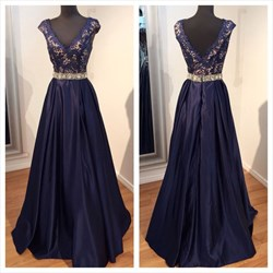 Navy Blue V Neck Cap Sleeve Lace Bodice Floor Length Formal Dress