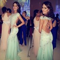 Mint Green Sheer Lace Embellished Mermaid Evening Gown With Open Back