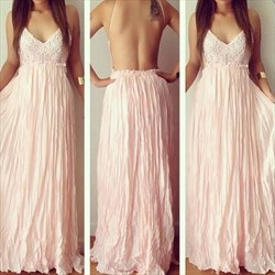 Pink Spaghetti Strap V Neck Backless Ruched Long Formal Dress