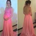 Pink V Neck Lace Bodice Open Back Pregnancy Dresses For Wedding