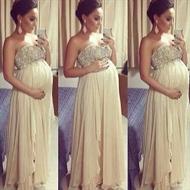 Ivory Strapless Beaded Bodice A Line Pregnancy Chiffon Prom Dress