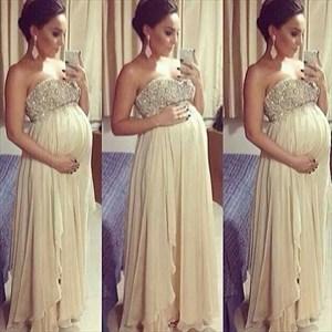 Ivory Strapless Beaded Bodice A Line Pregnancy Chiffon Prom Dress