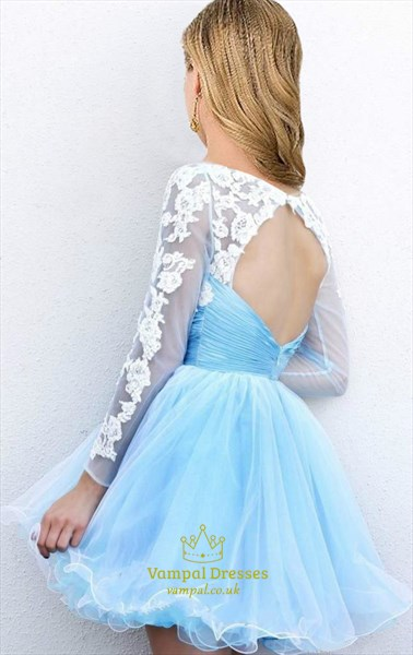 Light Blue Sheer Applique Open Back Long Sleeve Short Cocktail Dress