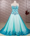 Blue Strapless Sleeveless Lace Applique Floor Length Prom Puffy Gown