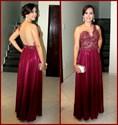 Burgundy Lace Bodice Sheer Back Floor Length A Line Formal Dresses