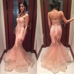 Pink Strapless Lace Embellished Tulle Mermaid Long Prom Dress