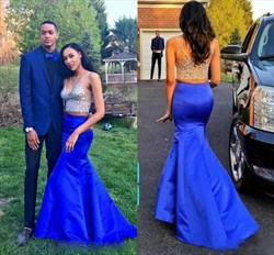 Royal Blue Two Piece Beaded V-Neck Illusion Long Formal Dress