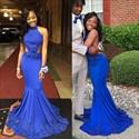 Royal Blue Halter Neck Embellished Open Back Mermaid Prom Dress