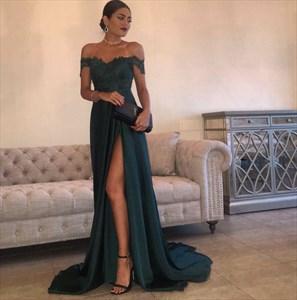 Teal Off The Shoulder Embellished Long Prom Dress With Side Split