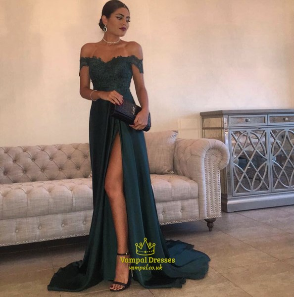 Teal Off The Shoulder Embellished Long Prom Dress With Side Split