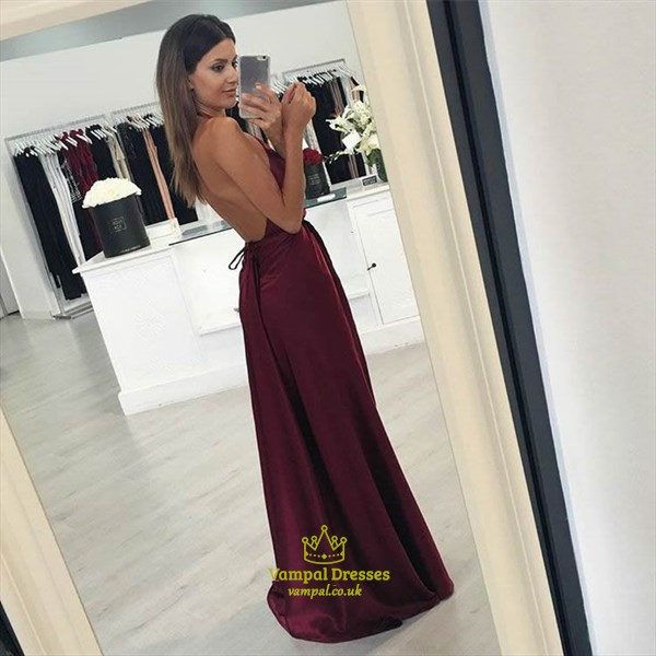Burgundy Halter Sleeveless V-Neck Backless Side Cut-Out Prom Dress