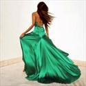 Green V Neck Spaghetti Strap Backless Side Split Long Evening Dress