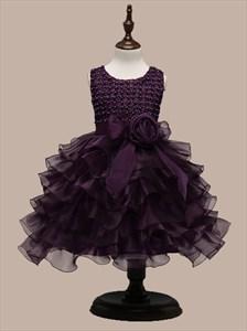 Grape Ball Gown Short Flower Girl Dress With Ruffled Skirt And Beading