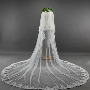Two-Tier Cathedral Bridal Veils With Lace Applique Edge