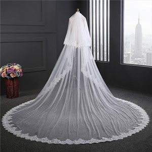 One-Tier Lace Applique Edge Cathedral Bridal Veils With Sequin