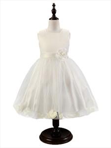 White A Line Princess Knee Length Flower Girl Dress With Rose Petals