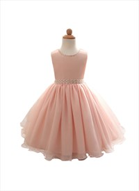 Pink A Line Princess Knee Length Flower Girl Dress With Beading