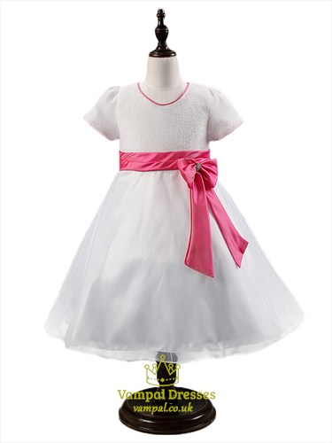 Two Tone Short Sleeve A Line Flower Girl Dresses With Sash And Bow