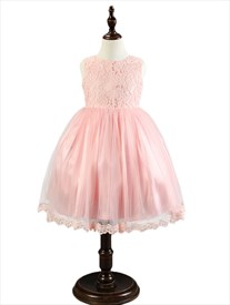 Pink A Line Princess Short Flower Girl Dress With Bow In Back